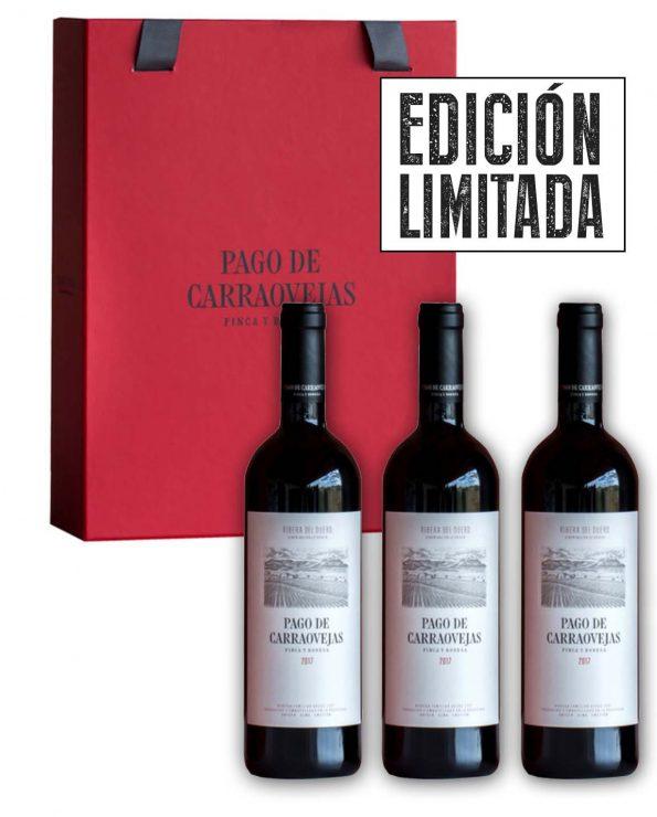 Compra estuche rojo pago de carraovejas tres botellas, caja roja 3 botella Pago de Carraovejas